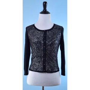KNITTED AND KNOTTED silver black cardigan NEW